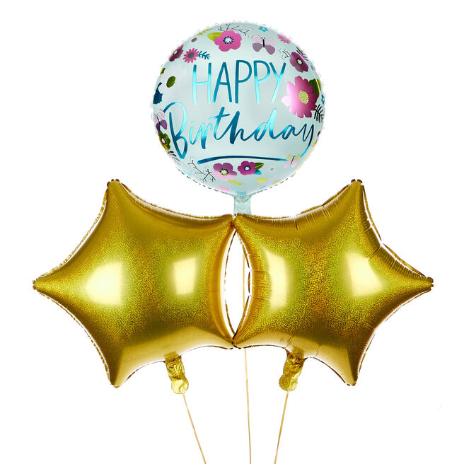 Floral Happy Birthday Balloon Bouquet - DELIVERED INFLATED!