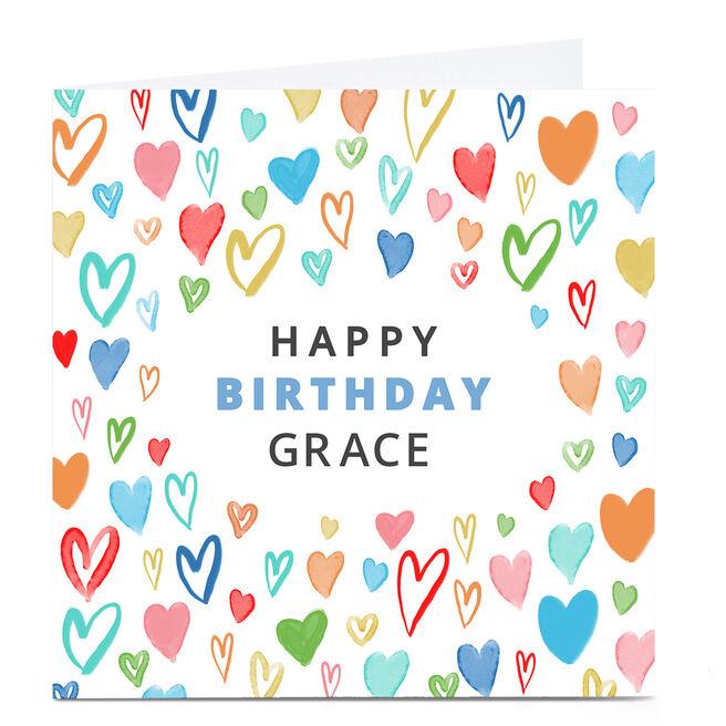 Personalised Dalia ClarkBirthday Card - Colourful Hearts