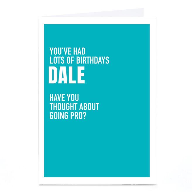Personalised Wordee Birthday Card - Going Pro