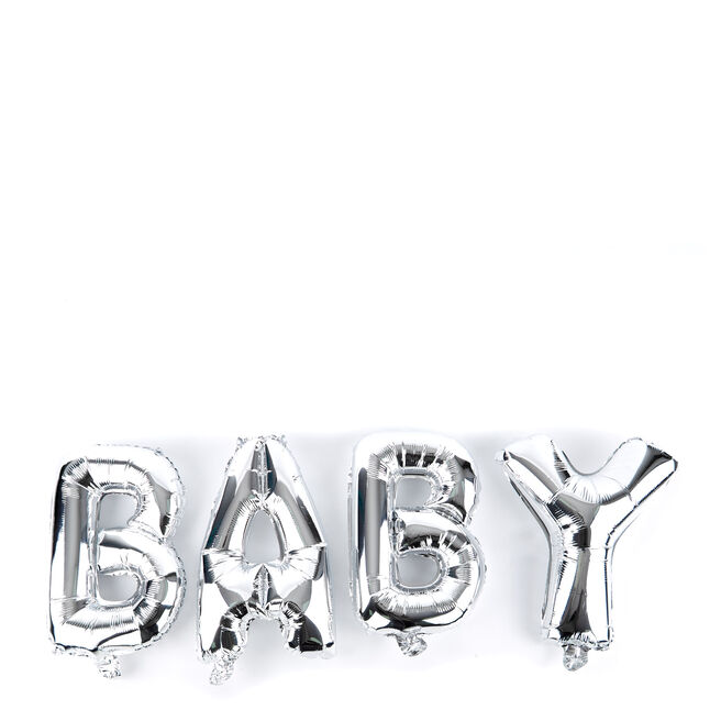 Silver Baby Balloon Banner Kit