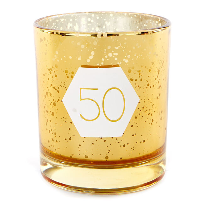Gold Vanilla Scented 50th Birthday Candle