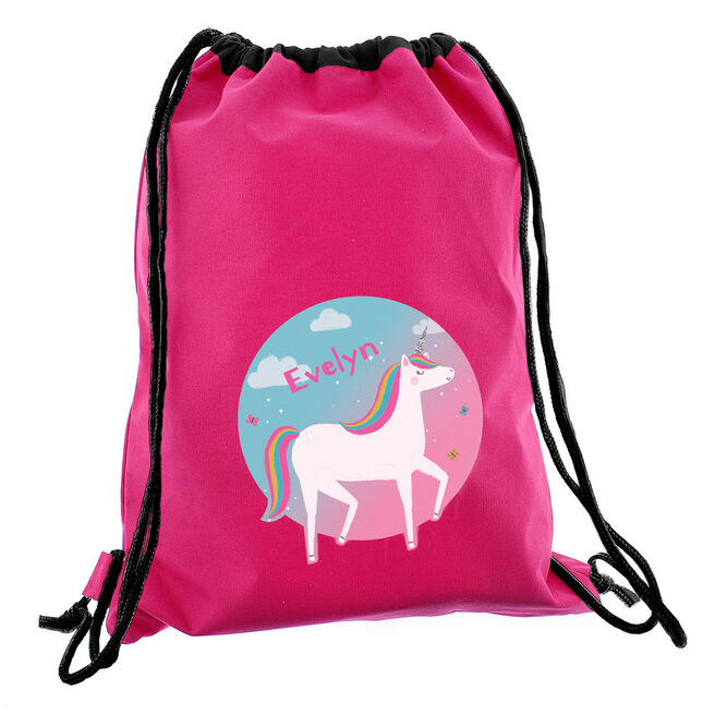 Personalised Drawstring Bag - Pink Unicorn