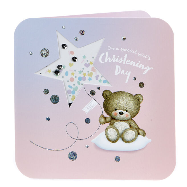 Boutique Collection Hugs Bear Christening Card - Girl