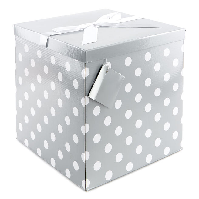 Jumbo Flat-Pack Gift Box - Silver And White Polka Dots