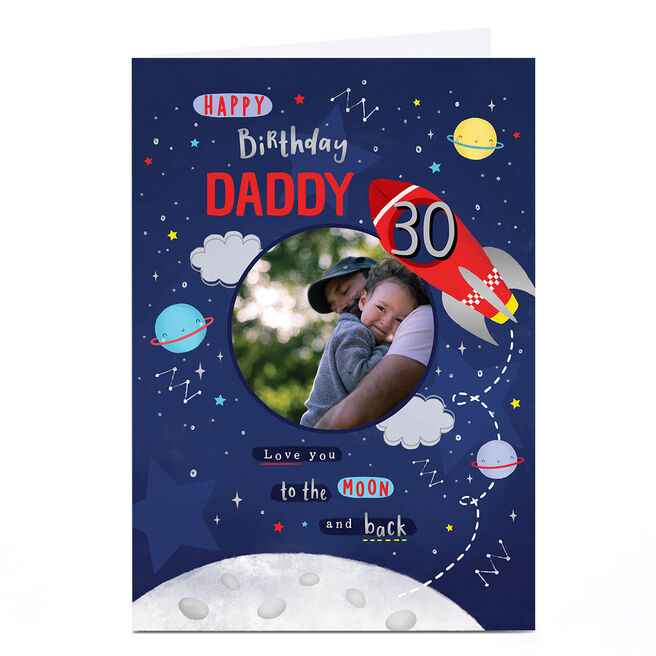 Photo Birthday Card - Love You To The Moon & Back