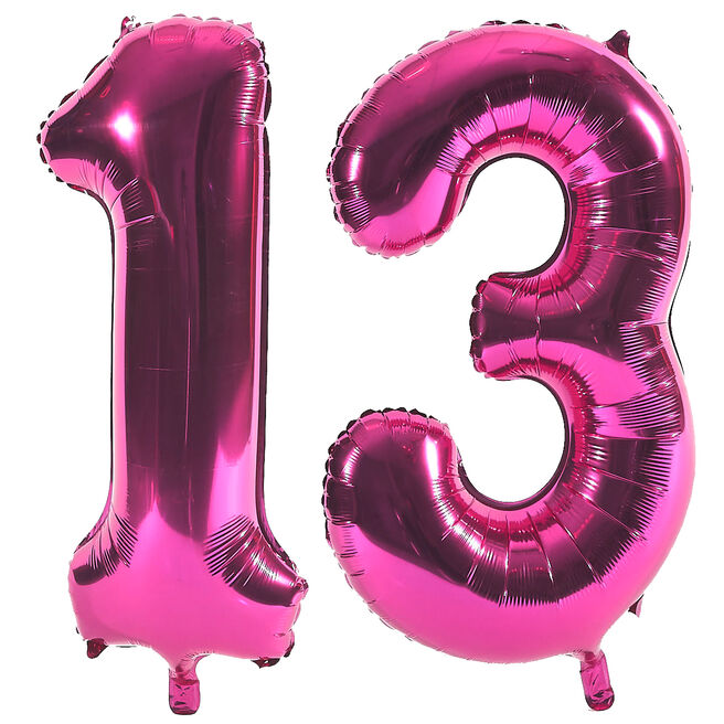 Age 13 Giant Foil Helium Numeral Balloons - Pink (deflated)