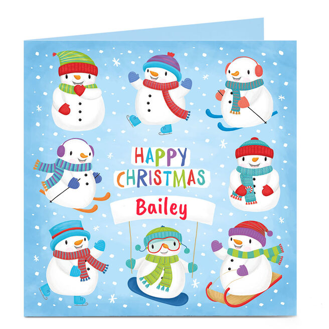 Personalised Christmas Card - Happy Christmas Snowmen