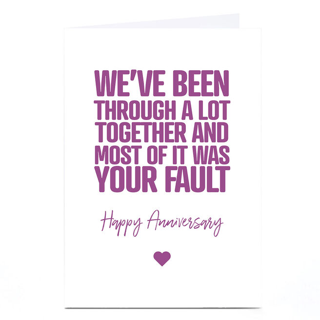 Personalised Punk Cards Anniversary Card - Your Fault