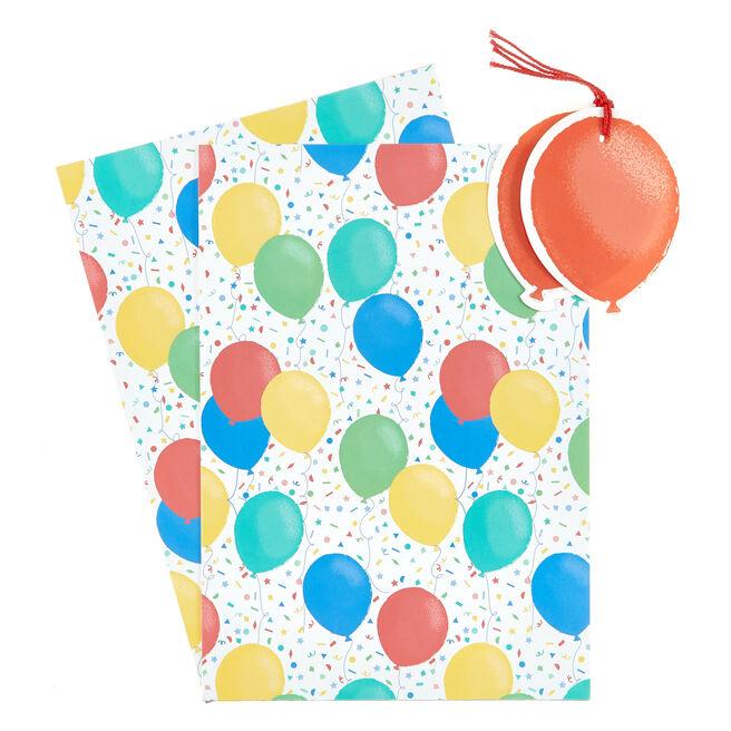 Balloons Gift Wrap & Tag Set