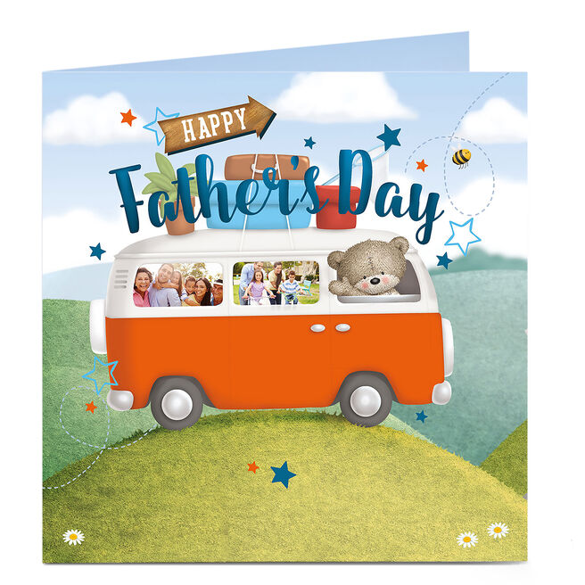 Hugs Photo Upload Father's Day Card - Bear In A Camper Van