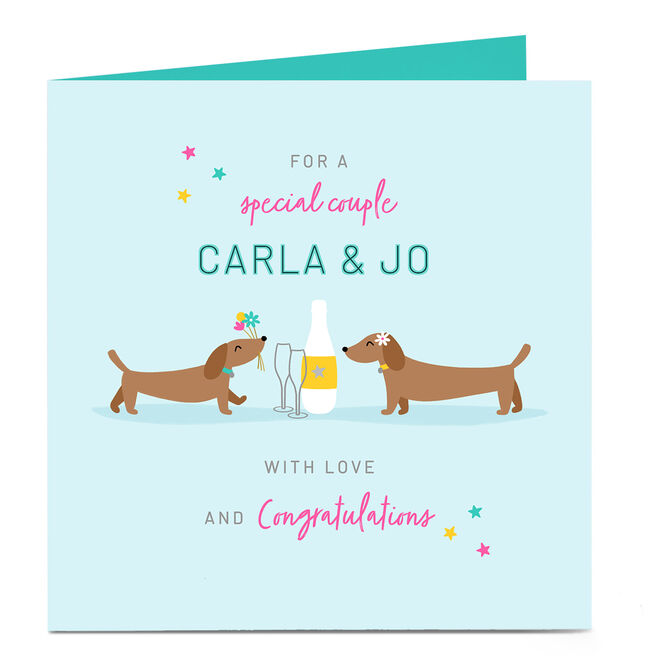 Personalised Congratulations Card - Sausage Dog Couple