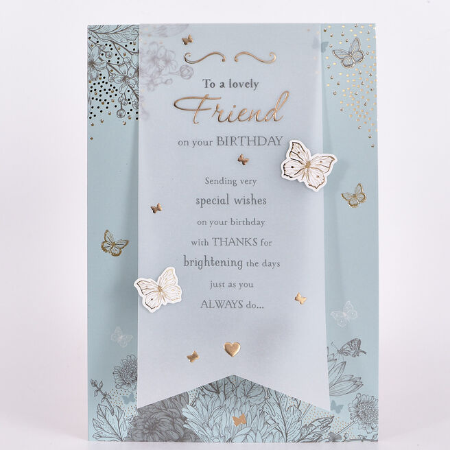 Signature Collection Birthday Card - Lovely Friend Butterflies