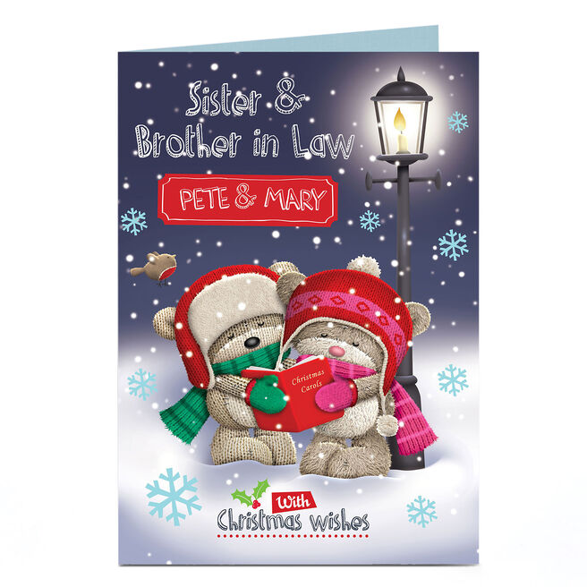 Hugs Personalised Christmas Card - Sister & Brother-in-Law Singing