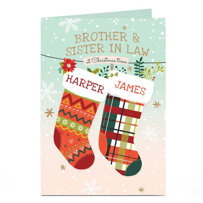 Personalised Christmas Card - Hanging Tartan Stockings