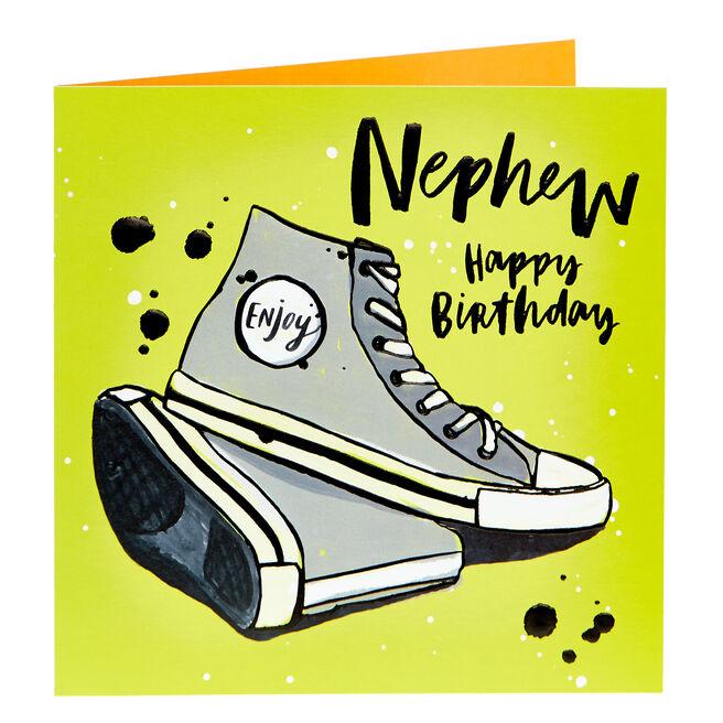 Birthday Card - Nephew, Baseball Shoes