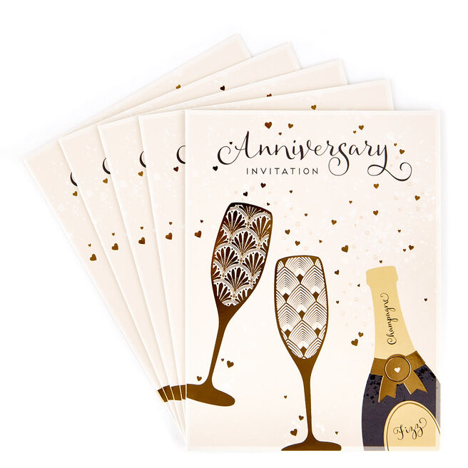 Anniversary Invitations, Champagne - Pack of 12