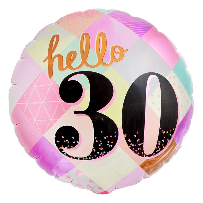 Hello 30th Birthday 18-Inch Foil Helium Balloon