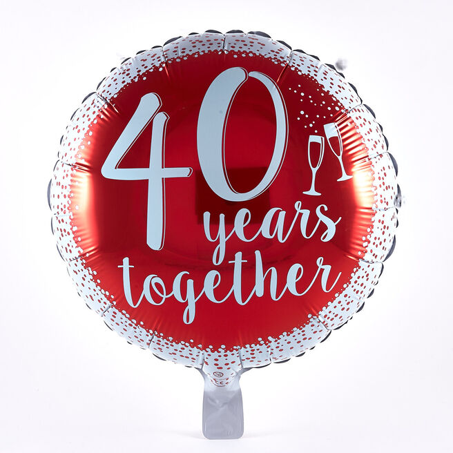 40 Years Together Anniversary Foil Helium Balloon