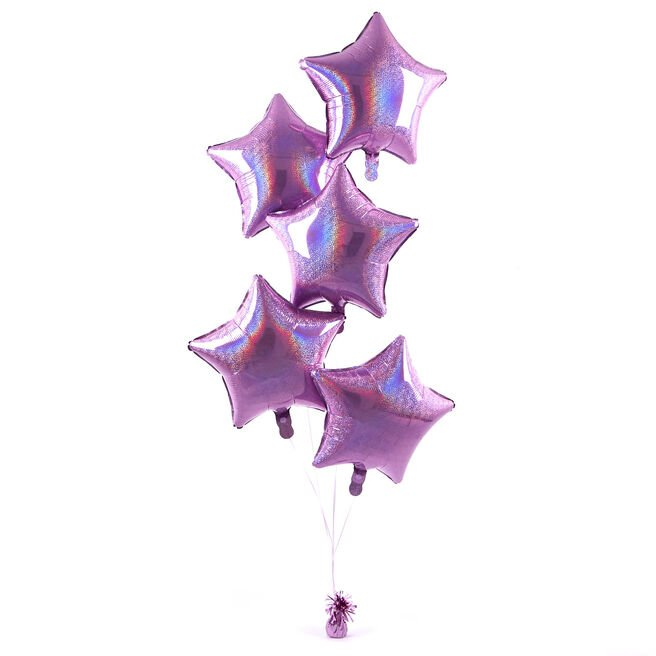 5 Baby Pink Stars Balloon Bouquet - DELIVERED INFLATED!