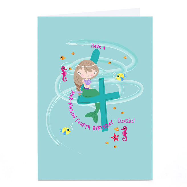 Personalised Rachel Griffin Birthday Card - 4, Mer-mazing Birthday