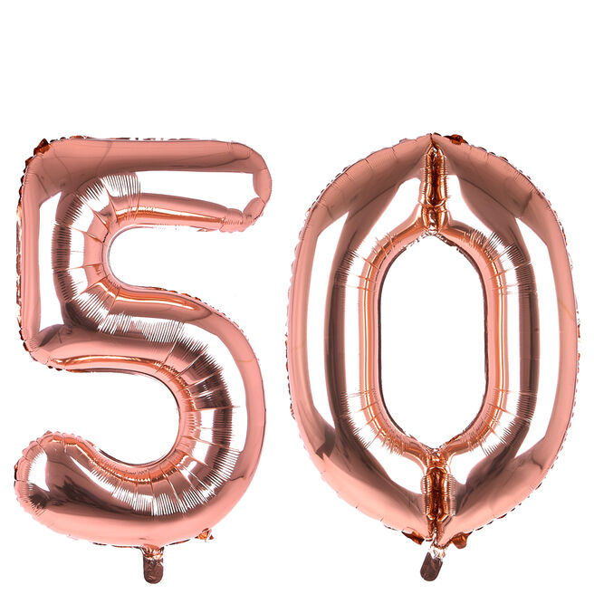 Age 50 Giant Foil Helium Numeral Balloons - Rose Gold (deflated)