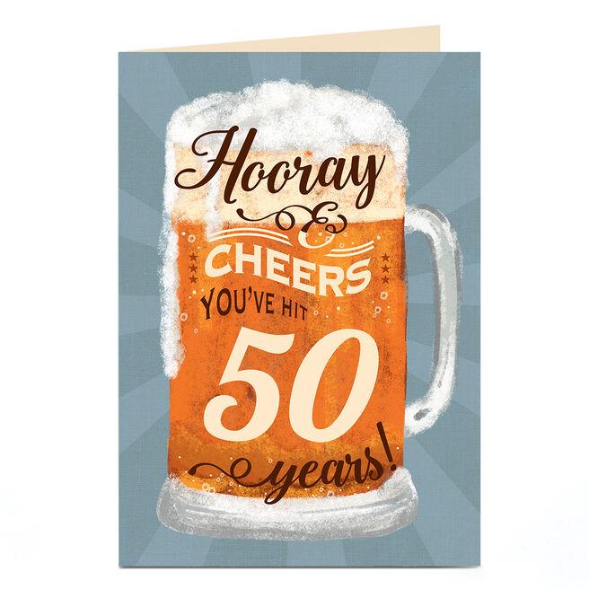 Personalised 50th Birthday Card - Hooray Beer Tankard