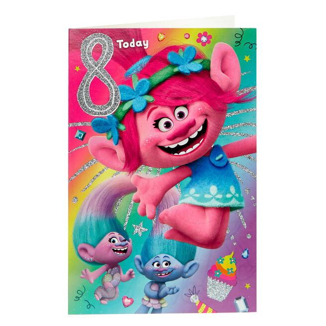 Trolls 8th Birthday Card