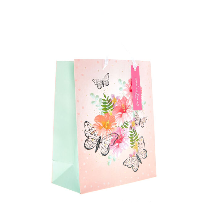 Small Portrait Gift Bag - Butterflies & Flowers