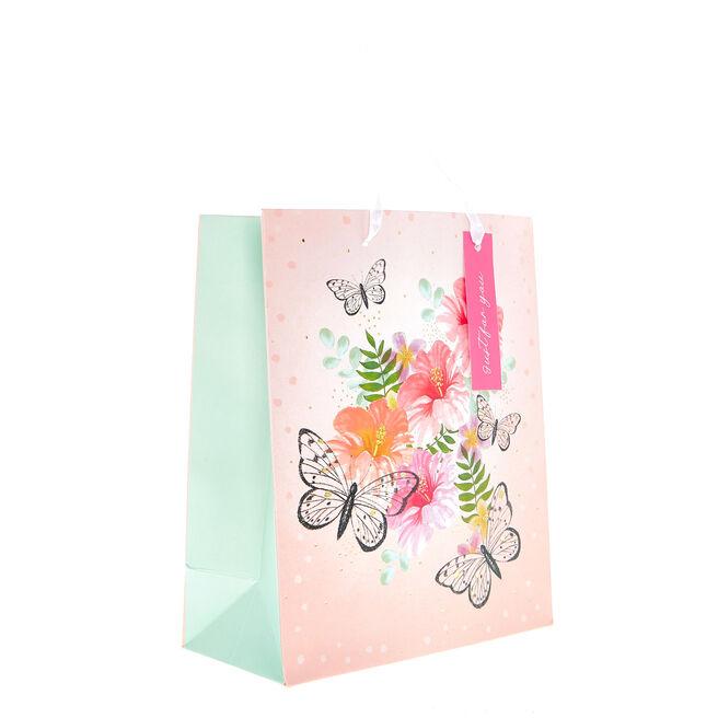 Small Portrait Gift Bag - Butterflies & Flowers