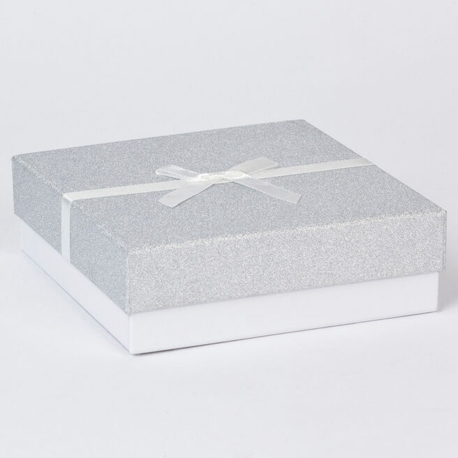 Silver Glitter Jewellery Gift Box - Large