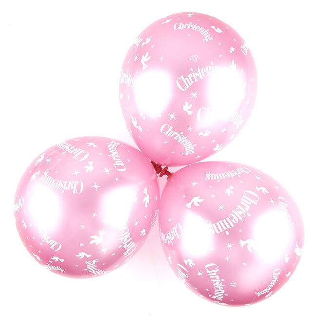 Metallic Pink Christening Helium Latex Balloons - Pack Of 6