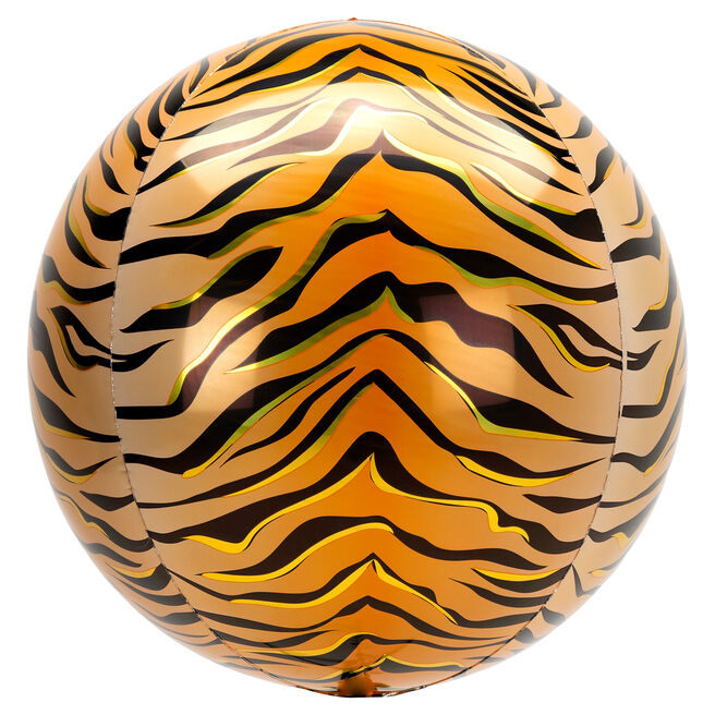 Orb-Shaped Tiger Print 16 Foil Helium Balloon