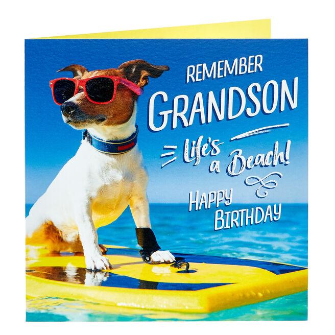 Birthday Card - Grandson, Surfing Dog