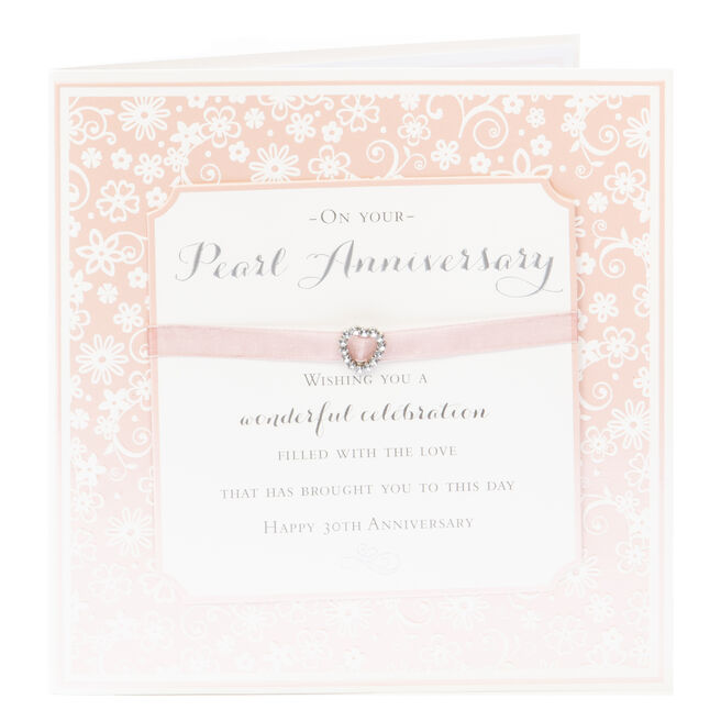 Exquisite Collection Pearl Anniversary Card - Happy 30th