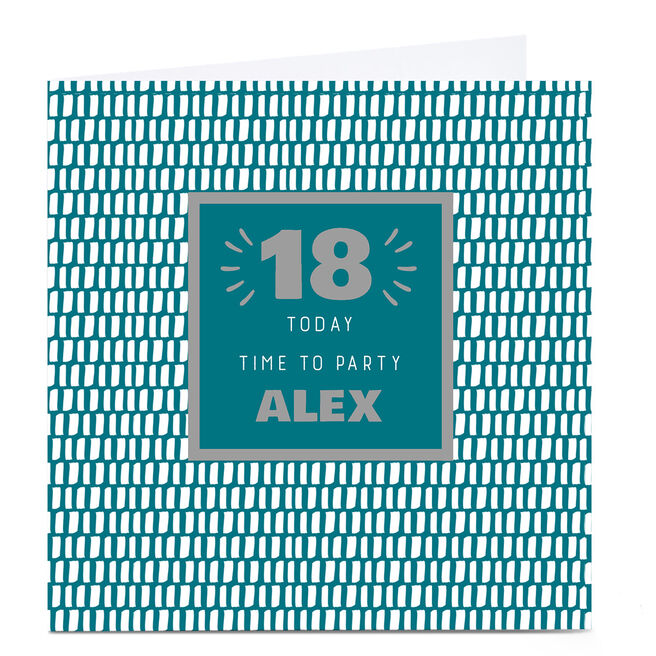 Personalised 18th Birthday Card - Time To Party Green