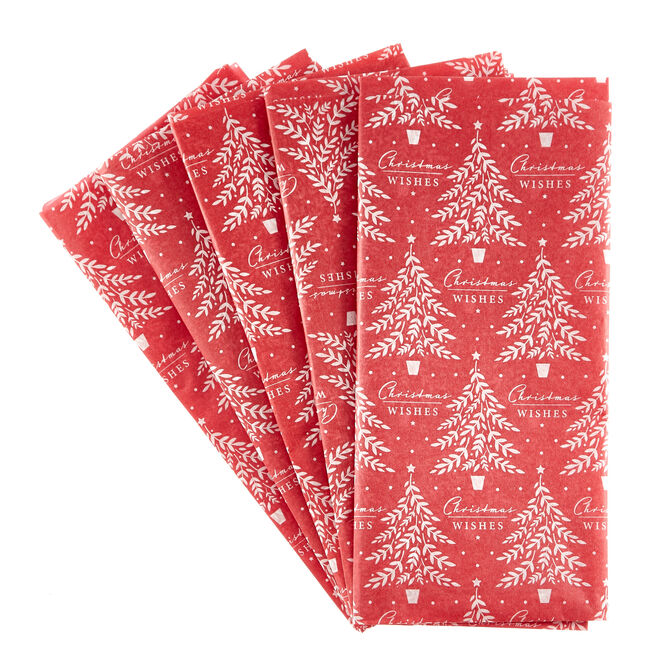 Red & White Christmas Wishes Tissue Paper - 7 Sheets