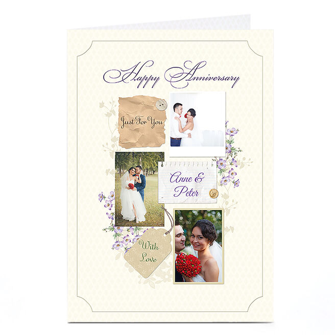 Photo Anniversary Card - Cream and Lilac