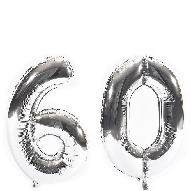 Age 60 Giant Foil Helium Numeral Balloons - Silver (deflated)