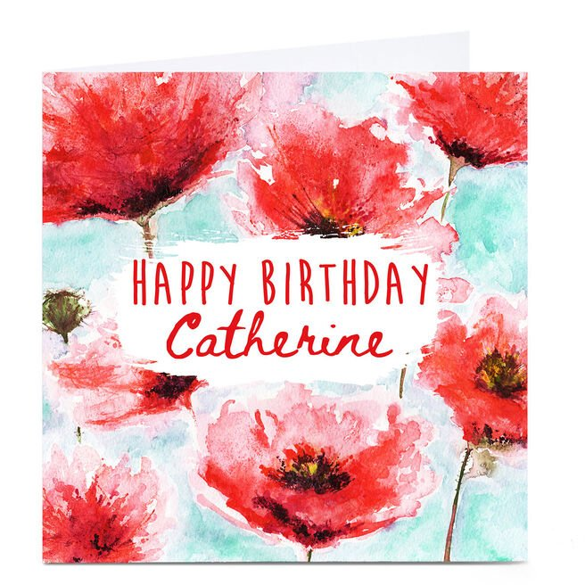 Personalised Emma Isaacs Birthday Card - Watercolour Poppies