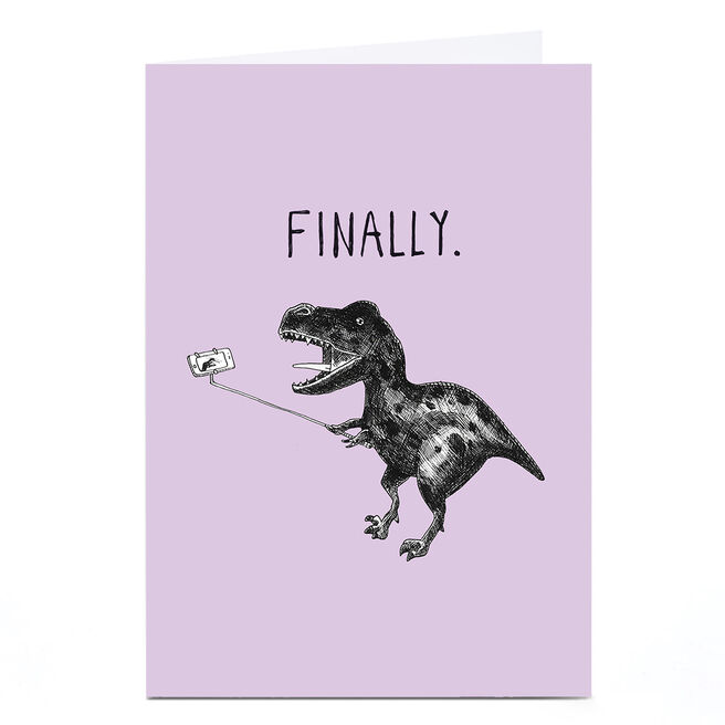 Personalised Jolly Awesome Card - Happy T-Rex