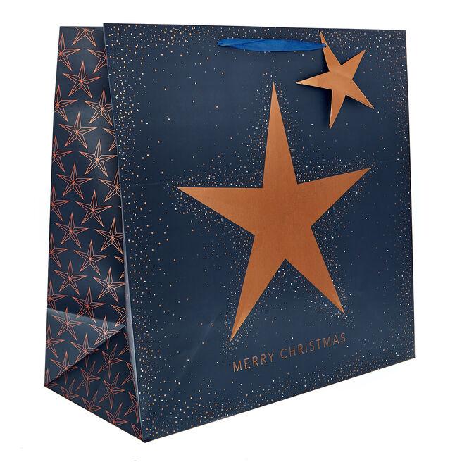 Giant Square Navy & Copper Star Christmas Gift Bag