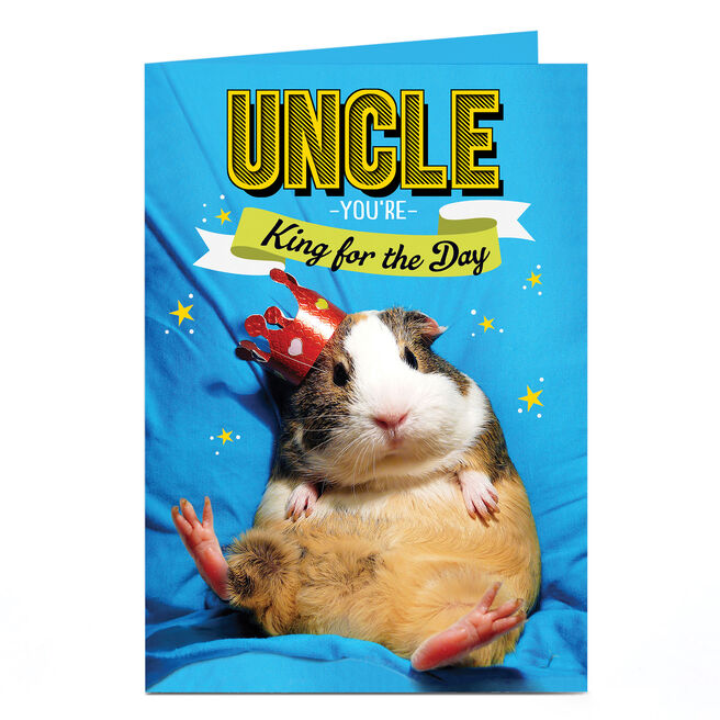 Personalised Birthday Card - Guinea Pig King, Uncle