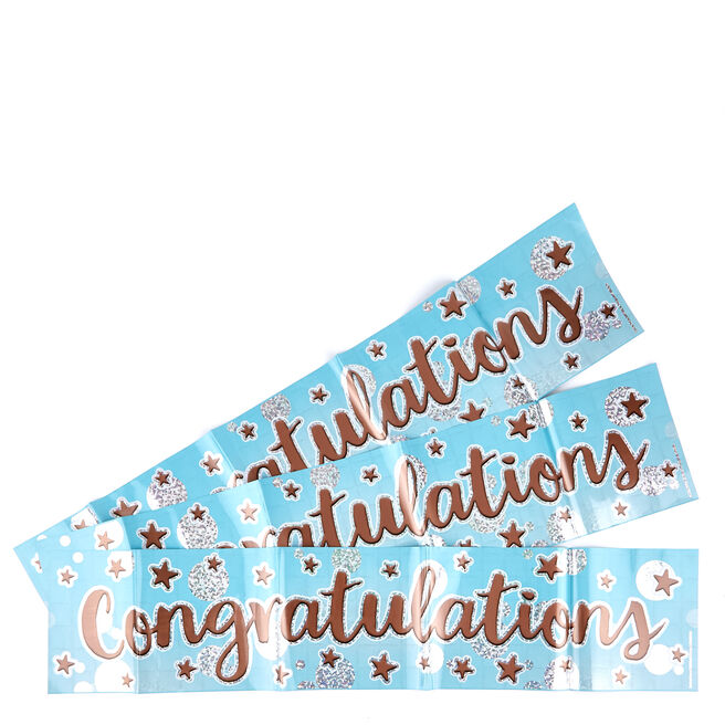 Blue Congratulations Party Banners - Pack Of 3