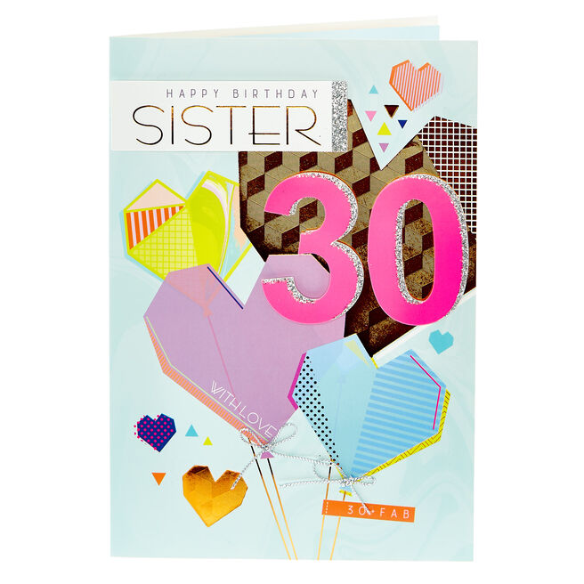 30th Birthday Card - Sister, Geometric Hearts