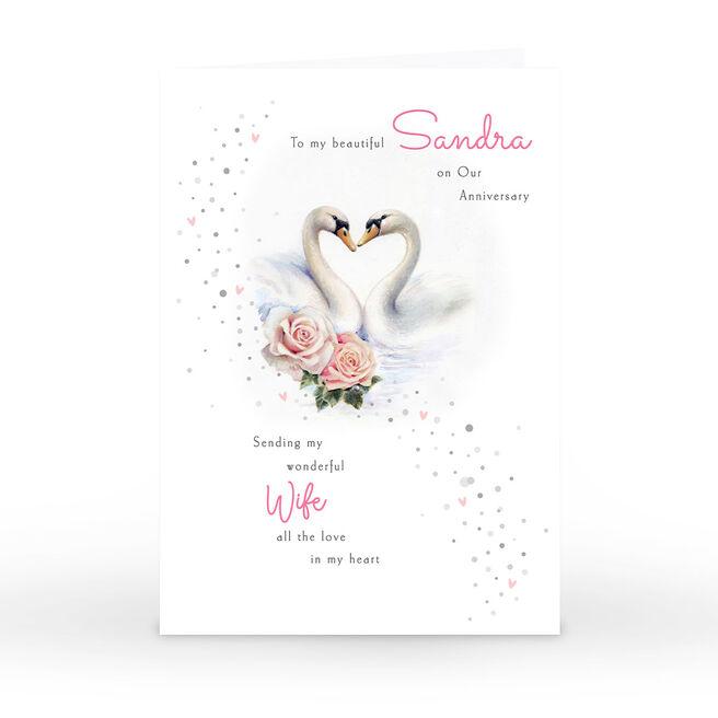 Personalised Anniversary Card - Wonderful Wife, Swans
