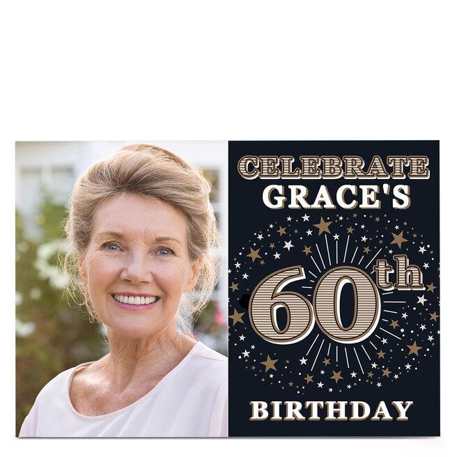 Photo 60th Birthday Invitation - Gold Stars