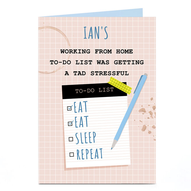 Personalised Working From Home Card - To-Do List