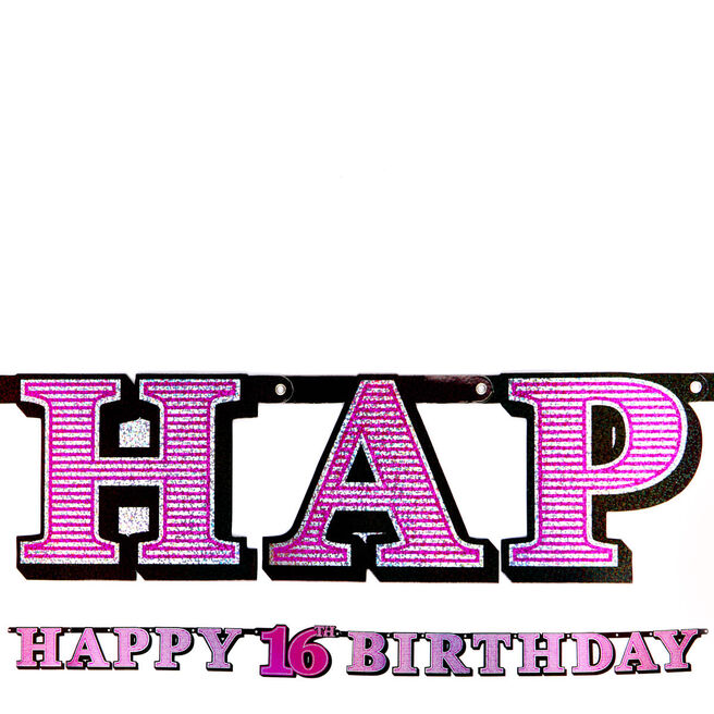 Pink Holographic 16th Birthday Banner