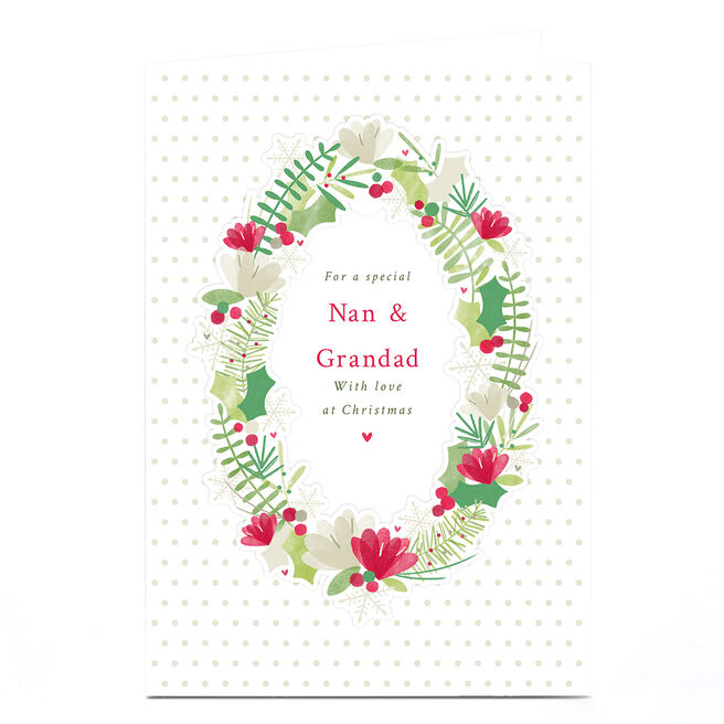 Personalised Christmas Card - Wreath With Love