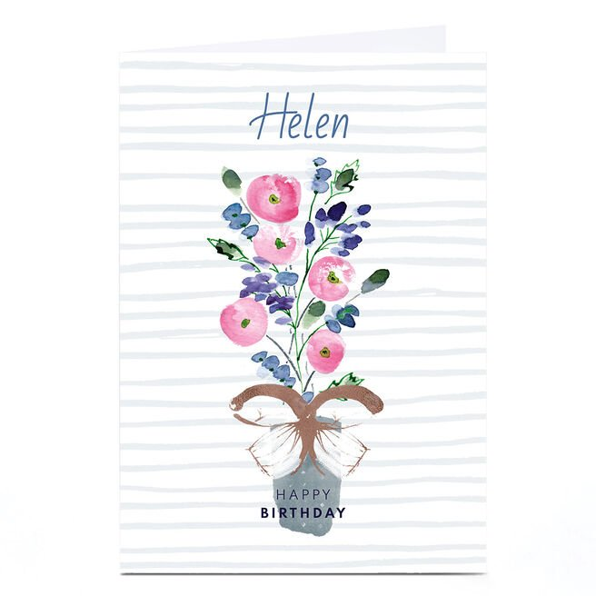 Personalised Rebecca Prinn Birthday Card - Flower Vase